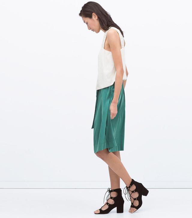 Zara Tie-Belt Midi Skirt