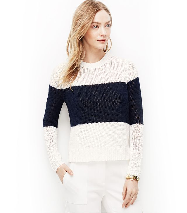 Ann Taylor Colorblock Cropped Relaxed Sweater