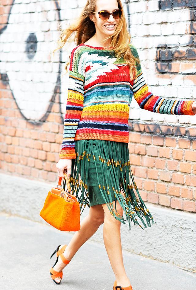 Style Tip:Multicolored knit + fringe skirt