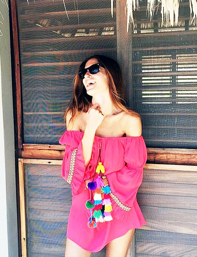 Style Tip: Off-the-shoulder dress + pom-pom details