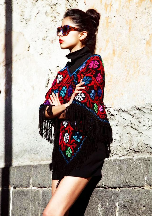 Style Tip:Fringe poncho + LBD