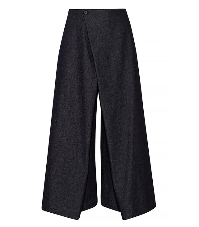 1205 Institution Wrap-Front Denim Culottes
