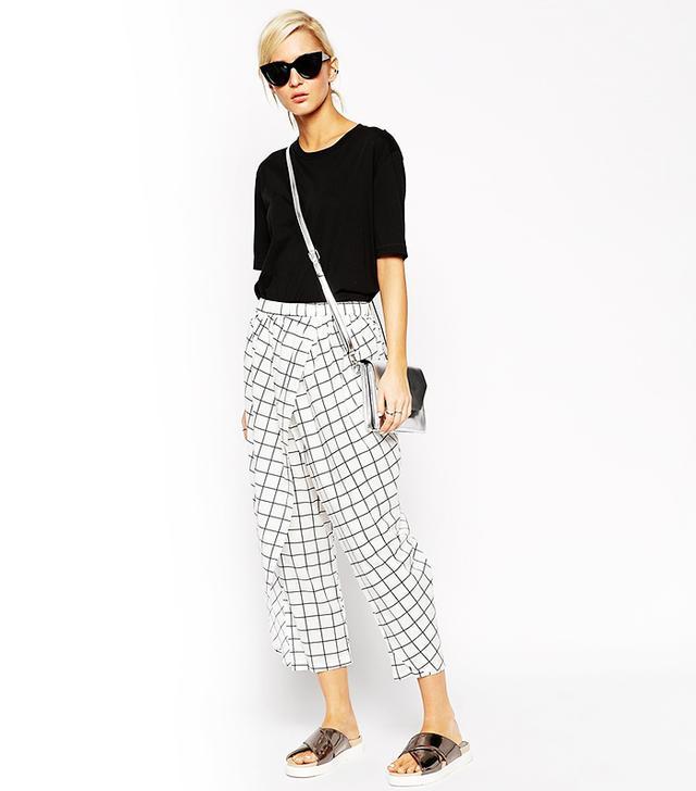 ASOS White Grid Check Pants
