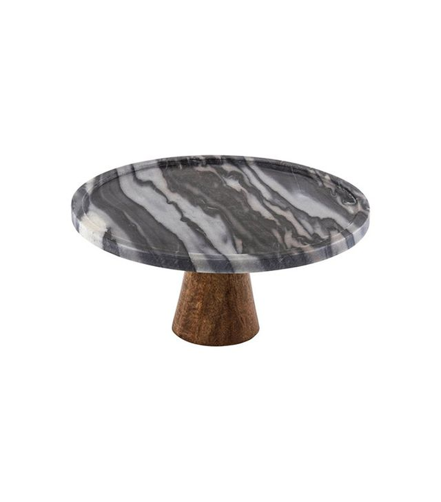 Thirstystone Black Marble & Wood Cake Stand