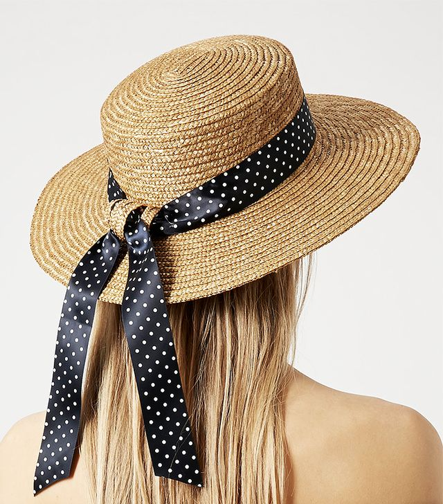 Topshop Polka Dot Trim Boater Hat