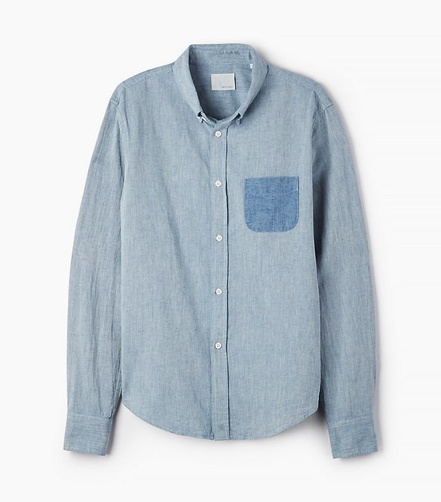 Band of Outsiders Herringbone Chambray Button-Down Shirt