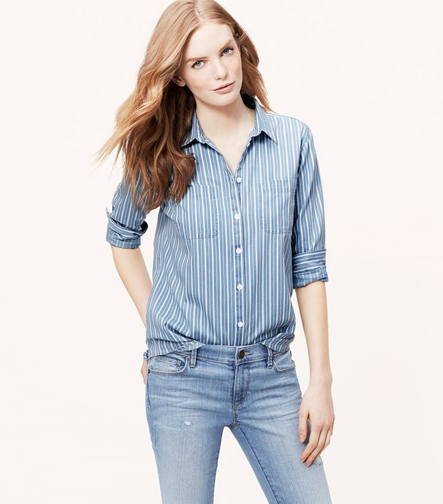 Loft Striped Chambray Softened Shirt
