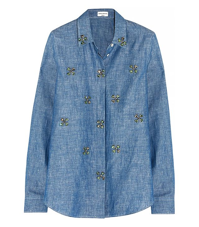Sonia Rykiel Embellished Cotton and Linen-Blend Chambray Shirt