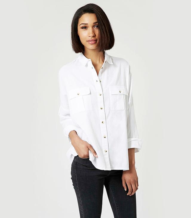 Topshop Oversized Chambray Pocket Shirt
