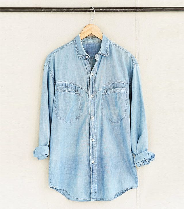 Vintage Faded Denim Chambray Shirt