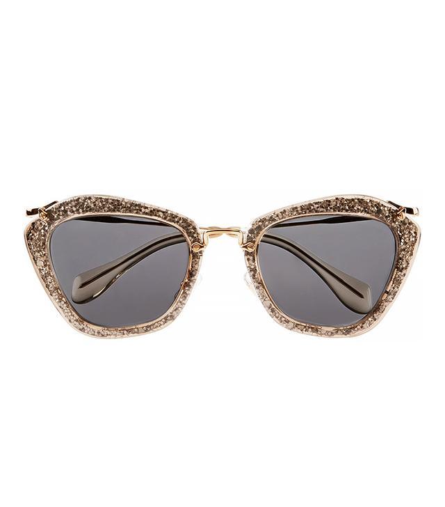 Miu Miu Cat-eye Glittered Acetate and Metal Sunglasses