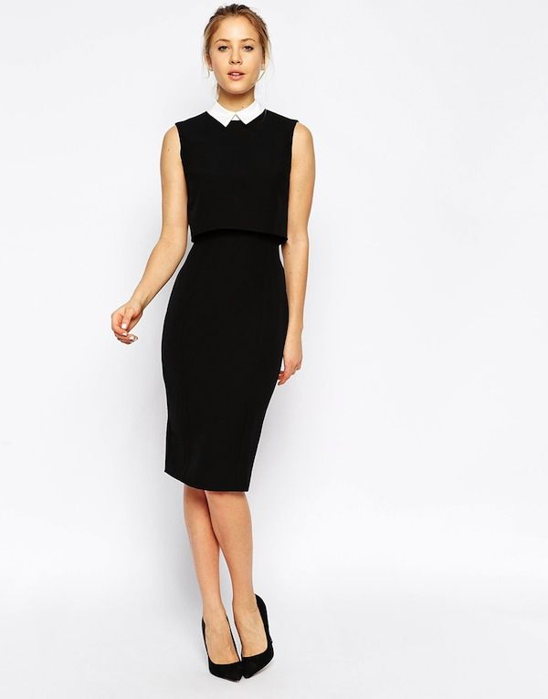 ASOS Pencil Dress with Shell Top with Contrast Collar