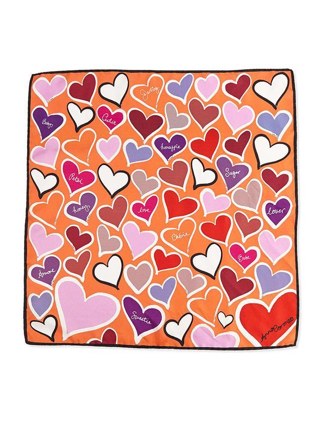 Anna Coroneo Hearts-Printed Small Scarf Square