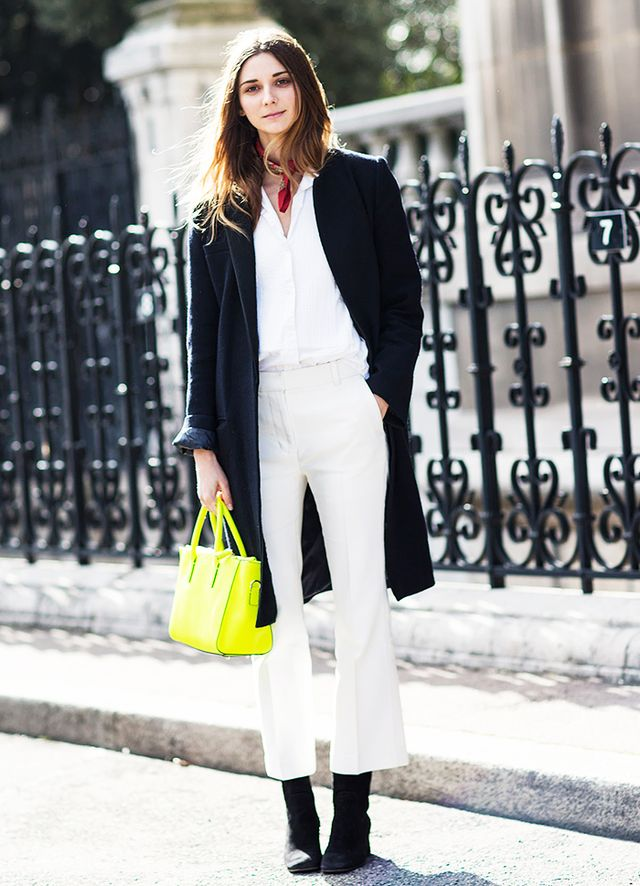 Silk Scarf + Button-Down Shirt + Cropped Flared Trousers + Boots