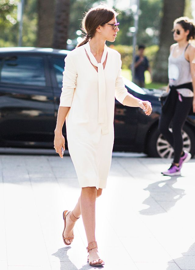 Long-Sleeve Shift Dress + Sandals