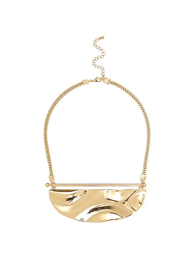 River Island Gold Tone Plate Necklace