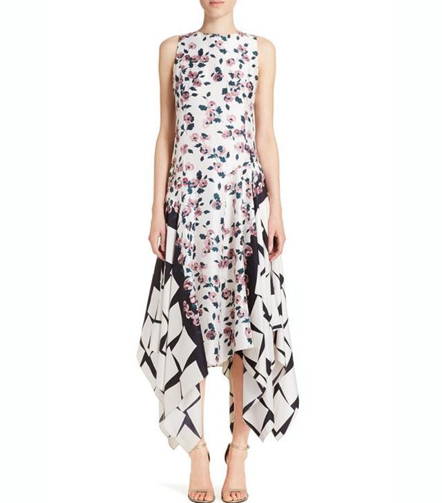 Suno Floral Cubes Silk Dress