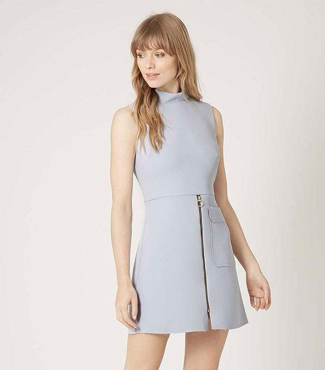 Topshop Raw Edge Zip Front Shift Dress