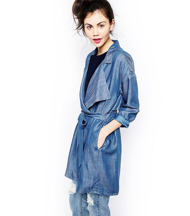 Monki Denim Trench Coat