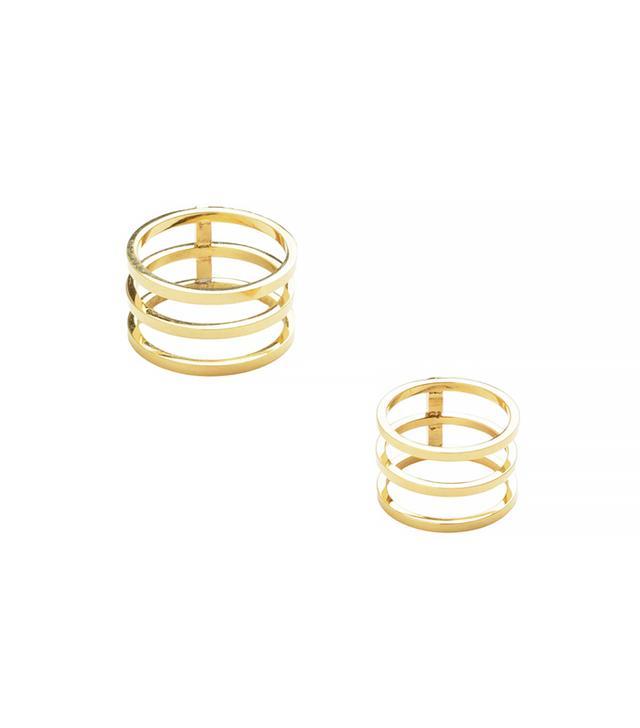 Jeweliq Cage Ring and Midi Ring Set