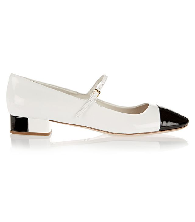 Miu Miu Two-Tone Patent Leather Mary Jane Flats