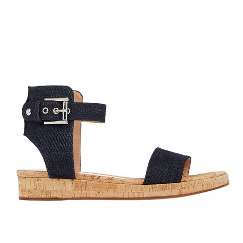 Denim Ankle-Strap Platform Sandals