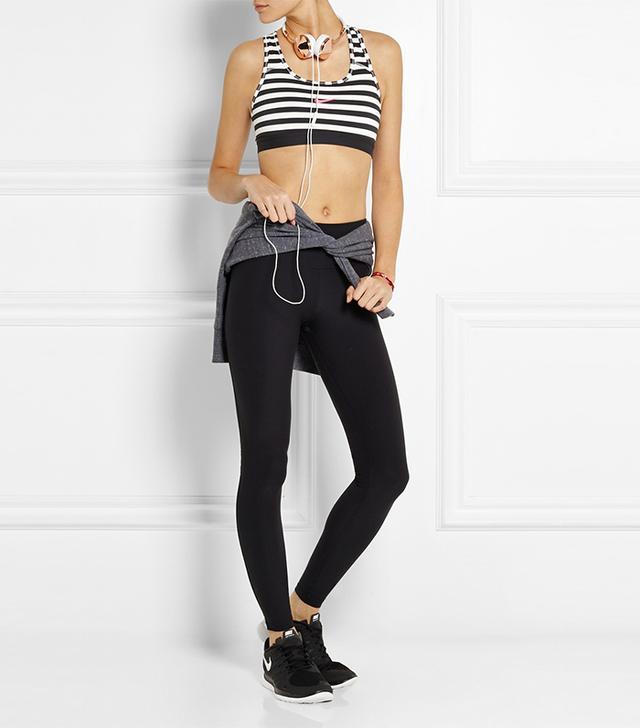 Nike Classic Dri-Fit Striped Stretch-Jersey Sports Bra