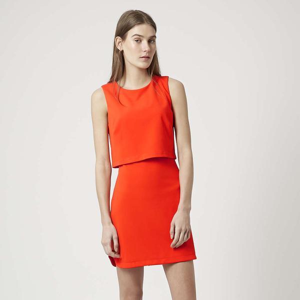 TOPSHOP Petite Sleeveless Curved Hem Overlay Dress