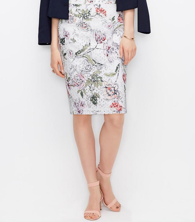 Ann Taylor Floral Eyelet Pencil Skirt