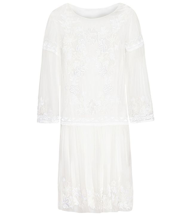 Alberta Ferretti Floral-Embroidered Silk-Chiffon Dress