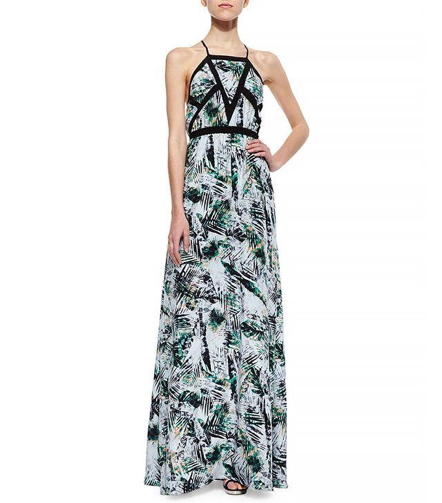 Parker Sams Tropical-Print Maxi Dress in Freshwater Amazon