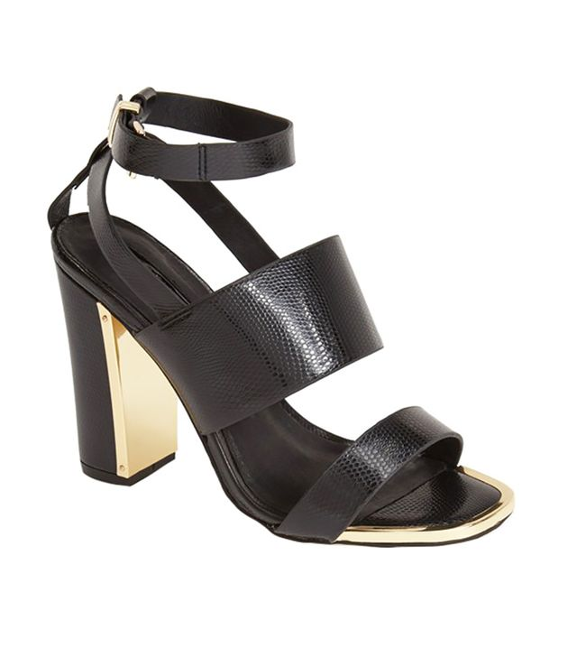 TOPSHOP Riot Lizard Embossed Ankle Strap Sandals in Black