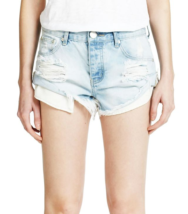 One Teaspoon Bandits Distressed Cut-Off Denim Shorts
