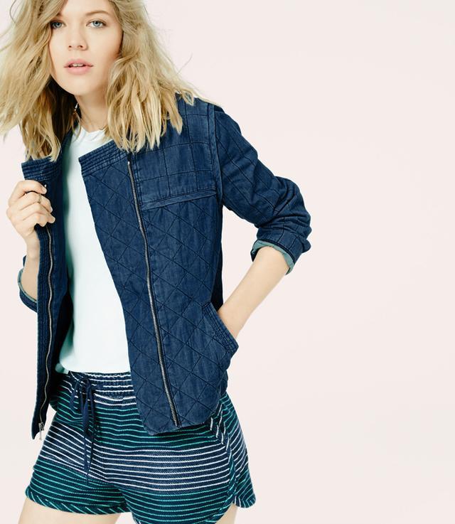 Lou & Grey Stitched Chambray Jacket
