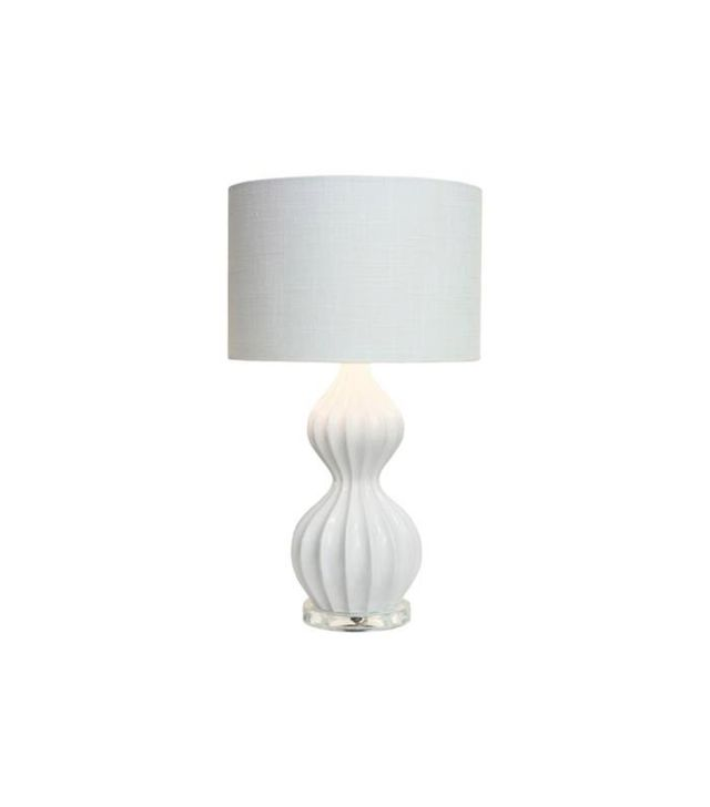 Couture Peanut Ribbed Glossy White Accent Lamp