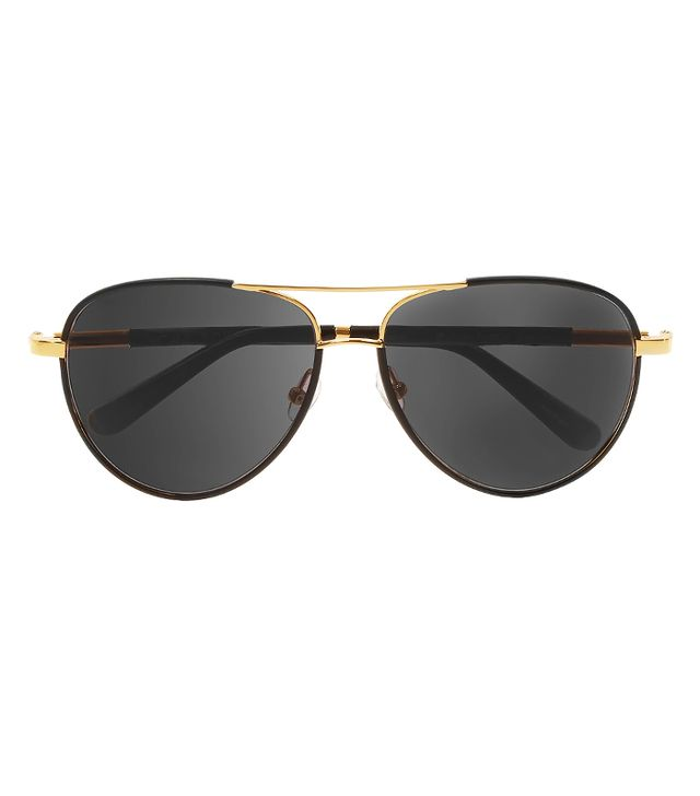 The Row Aviator-Style Leather-Trimmed Sunglasses