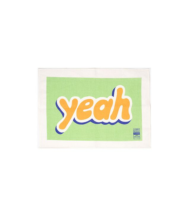 Jon Campbell Third Drawer Down 'Yeah' tea towel