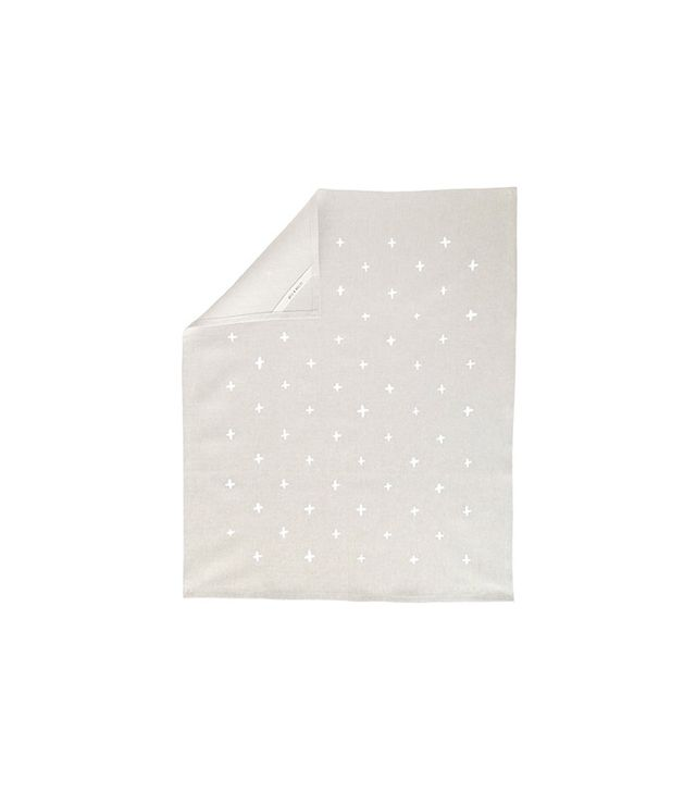 Cotton & Flax White Plus Pattern Linen Tea Towel