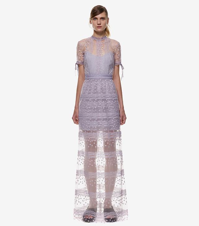Self-Portrait Sheer Layered Maxi Dress