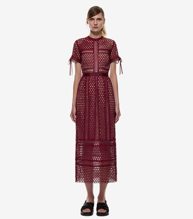 Self-Portrait Panelled Column Midi Dress