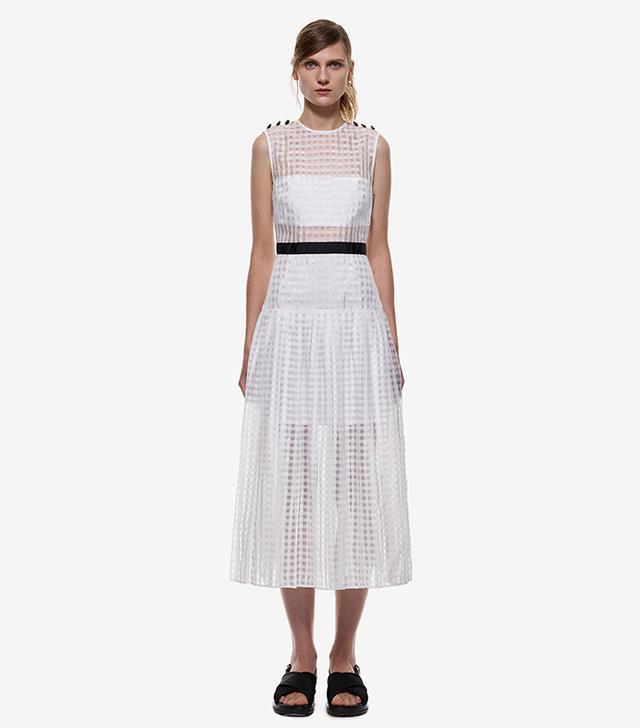 Self-Portrait Monochrome Pleated Midi Dress