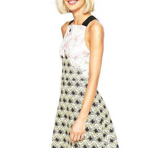A Line Skater Dress in Texture in Large Floral Print