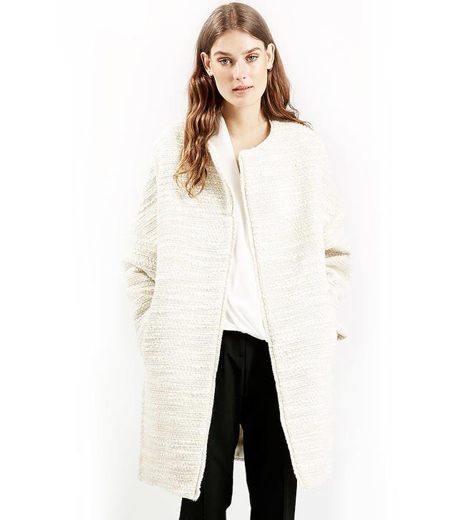 Topshop Premium Fringe Blanket Coat