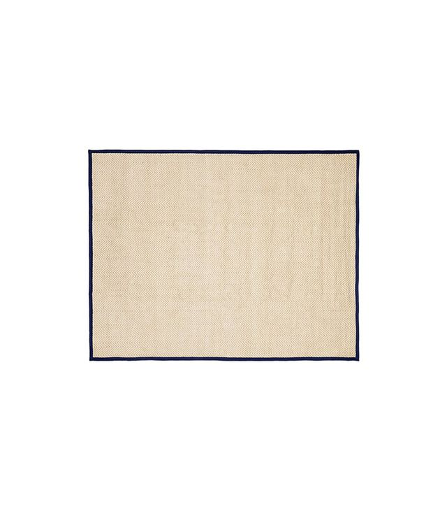 Pottery Barn Kids Chenille Jute Solid Border Rug in Navy