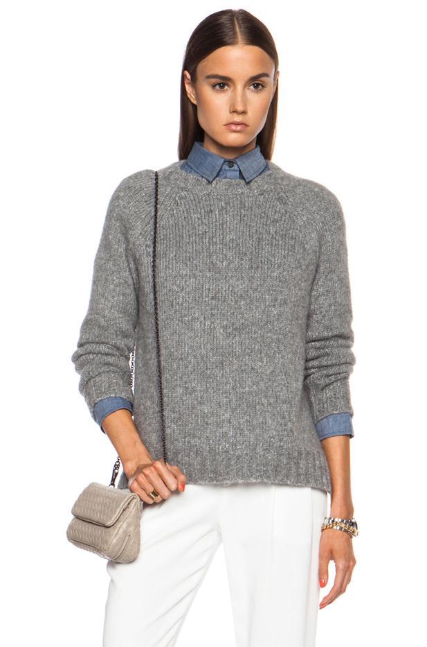 Jenni Kayne Side Slit Crewneck Alpaca-Blend Sweater