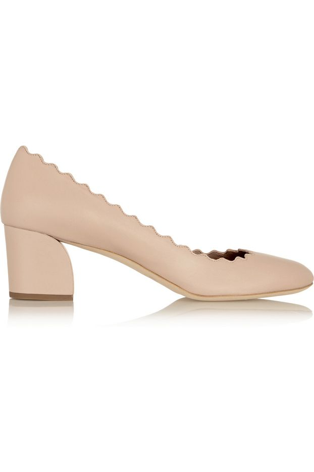 Chloé Scalloped Leather Pumps