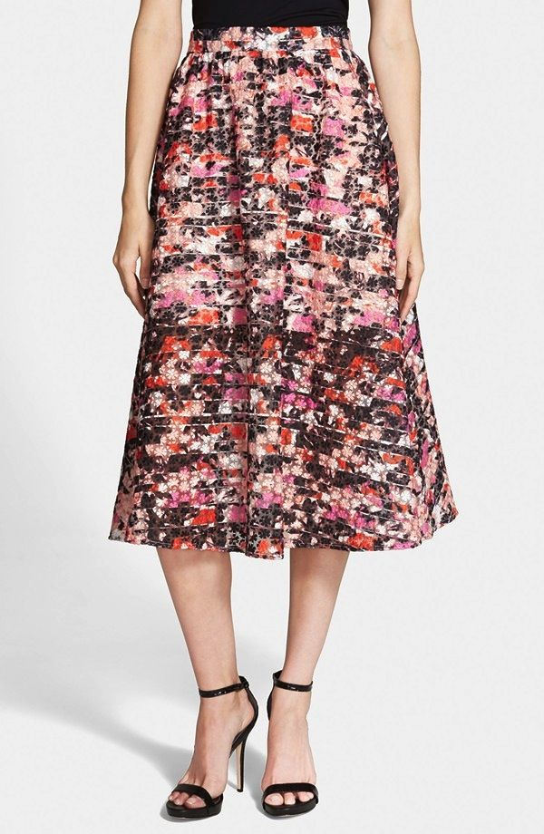 Sam Edelman Embroidered Organza Midi Skirt
