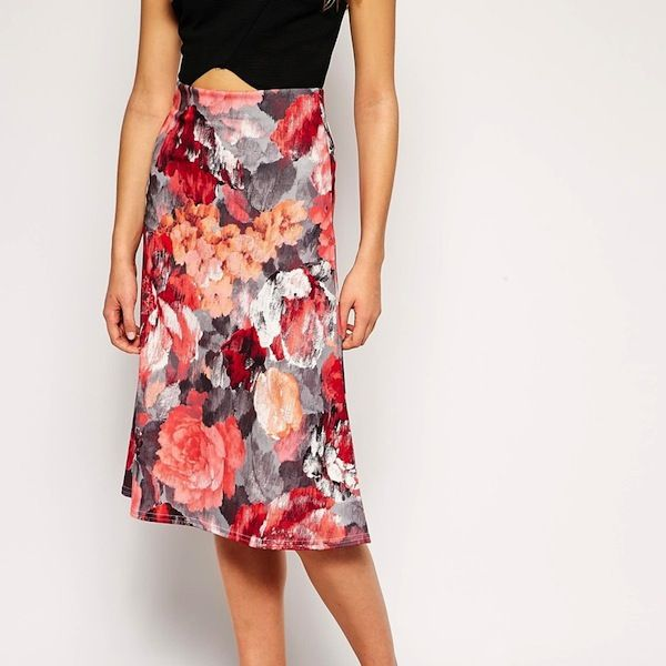 Daisy Street A Line Midi Skirt in Brushed Floral Print
