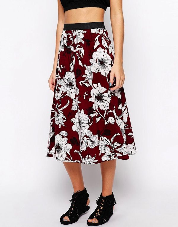 New Look 70's Retro Print Midi Skirt