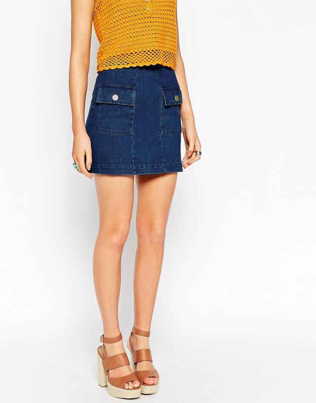 ASOS Denim A-Line Mini Skirt